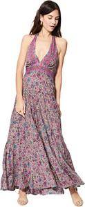 Sukienka Aller Simplement maxi z dekoltem w kształcie litery v z szyfonu