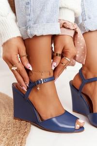 Granatowe sandały Laura Messi ze skóry z klamrami