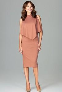 Pomarańczowa sukienka sukienki.pl midi