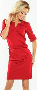 Czerwona sukienka NUMOCO z dekoltem w kształcie litery v midi dopasowana