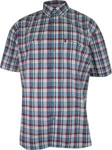 Granatowa koszula Jurel z klasycznym kołnierzykiem z bawełny z krótkim rękawem