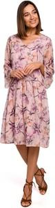 Różowa sukienka Merg rozkloszowana