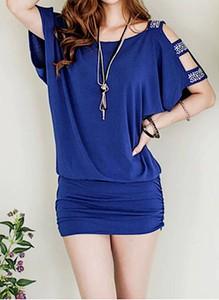 Niebieska sukienka Arilook z krótkim rękawem z bawełny w stylu casual