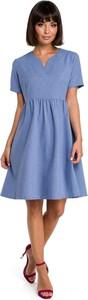Niebieska sukienka Be z krótkim rękawem mini
