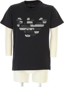 Niebieski t-shirt Emporio Armani z bawełny z krótkim rękawem