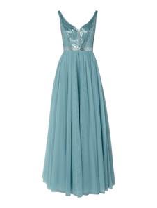 Turkusowa sukienka V.m. bez rękawów w stylu glamour