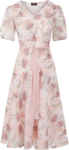 Sukienka Poza z krótkim rękawem z szyfonu z dekoltem w kształcie litery v