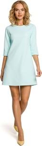 Niebieska sukienka MOE mini z okrągłym dekoltem z długim rękawem