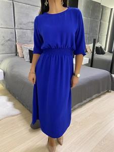 Niebieska sukienka ModnaKiecka.pl z okrągłym dekoltem w stylu casual prosta