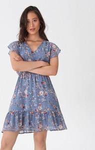 Niebieska sukienka House z dekoltem w kształcie litery v