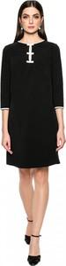 Czarna sukienka L'AF z długim rękawem trapezowa