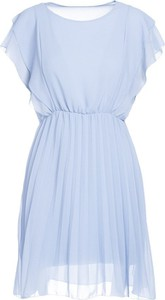 Niebieska sukienka Multu z okrągłym dekoltem