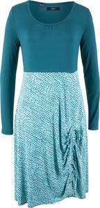 Turkusowa sukienka bonprix bpc bonprix collection z długim rękawem midi
