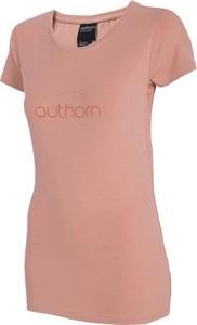 Różowa bluzka Outhorn z krótkim rękawem w sportowym stylu z okrągłym dekoltem