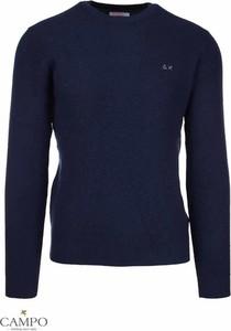 Niebieski sweter Sun 68 z wełny w stylu casual