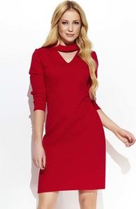 Czerwona sukienka Makadamia z długim rękawem mini