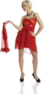 Czerwona sukienka Fokus midi z szyfonu