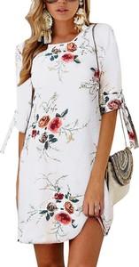 Sukienka Sandbella z długim rękawem z okrągłym dekoltem w stylu casual