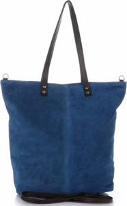 Torebki skórzane typu shopperbag firmy vera pelle jeansowe