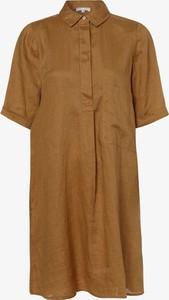 Sukienka Marie Lund z kołnierzykiem mini z lnu