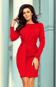 Czerwona sukienka NUMOCO mini z długim rękawem