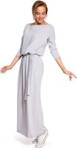 Sukienka MOE z dzianiny z długim rękawem maxi