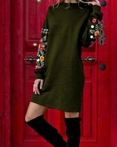 Zielona sukienka Kendallme z długim rękawem prosta z okrągłym dekoltem