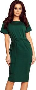 Zielona sukienka NUMOCO z okrągłym dekoltem midi z krótkim rękawem
