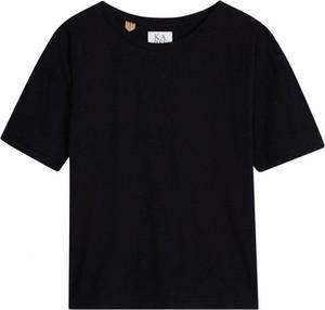 Czarny t-shirt Zoe Karssen z okrągłym dekoltem z krótkim rękawem w stylu casual