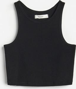Czarna bluzka Reserved z bawełny w stylu casual z okrągłym dekoltem
