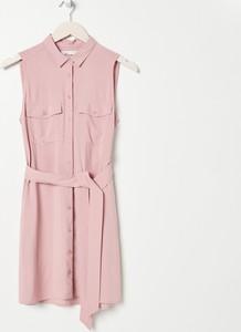 Różowa sukienka Sinsay koszulowa w stylu casual z długim rękawem