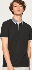 Czarna koszulka polo Reserved z krótkim rękawem w stylu casual