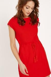 Sukienka Diverse z okrągłym dekoltem w stylu boho z krótkim rękawem