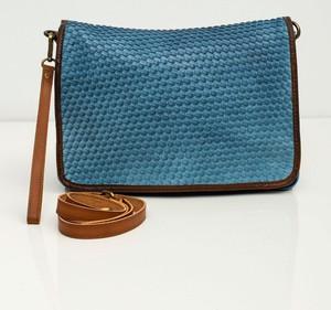 Niebieska torebka Sheandher.pl średnia ze skóry ekologicznej na ramię