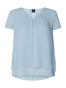 Niebieska bluzka S.Oliver Black Label z szyfonu z krótkim rękawem