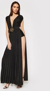 Czarna sukienka Elisabetta Franchi z szyfonu maxi bez rękawów