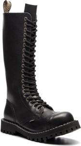 Czarne buty zimowe Steel w militarnym stylu sznurowane