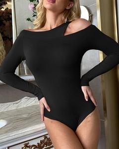 Czarna bluzka Kendallme z okrągłym dekoltem w stylu casual