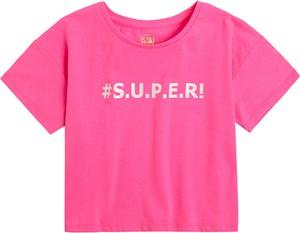 Różowa bluzka dziecięca Cool Club z bawełny z krótkim rękawem dla dziewczynek