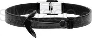 Silverado męska, czarna bransoletka z kotwicą - 77-ba598bb