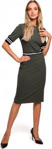 Sukienka MOE w militarnym stylu z krótkim rękawem midi