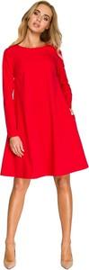 Czerwona sukienka Style z okrągłym dekoltem mini z szyfonu