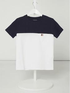 Granatowa koszulka dziecięca Review For Kids z krótkim rękawem z bawełny