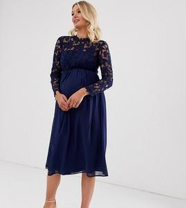 Granatowa sukienka Chi Chi London Maternity z okrągłym dekoltem