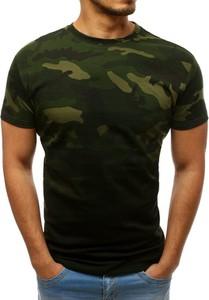 Zielony t-shirt Dstreet w militarnym stylu z krótkim rękawem z bawełny