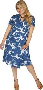Niebieska sukienka Aller Simplement z okrągłym dekoltem midi z bawełny