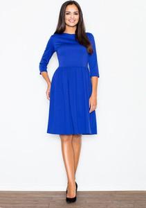 Niebieska sukienka Figl midi z długim rękawem rozkloszowana
