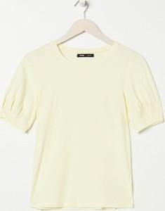 Żółta bluzka Sinsay z okrągłym dekoltem w stylu casual