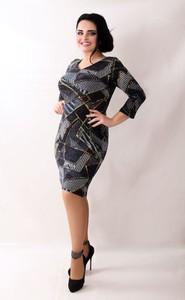 Sukienka Oscar Fashion dopasowana z długim rękawem