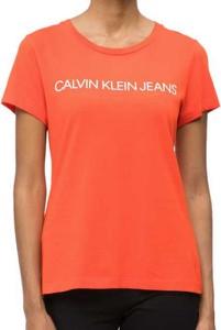 Pomarańczowy t-shirt Calvin Klein z bawełny